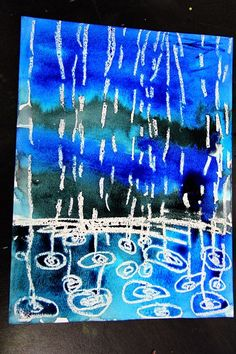 smART Class: Winter Rain Watercolor Resist - drops smaller further awaysmART Class: Winter Rain Watercolor Resist - I like this idea for springtime but also to combine with David Hockney Look forward to getting out of those freezing temps and turn a Kindergarten Art, Preschool Art, Projects For Kids, Art Projects, Weather Art, Weather Check, Smart Class, Rain Art, Spring Art
