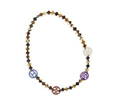 Deva Necklace in buffalo horn and lacquered wood, Doré theme (total length 110 cm, length when worn 55 cm)