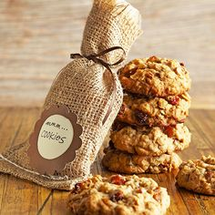 Luscious Homemade Food Gifts/Cinnamon and Fruit Cookies/ Gift this classic childhood favorite with a grown-up twist for the holidays. A bold dose of cinnamon and dried fruit adds some sophisticated flavor to oatmeal cookies. To package, line a small burlap gift bag with brown parchment paper. Tie the filled bag with ribbon and add a tag.