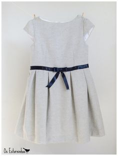 Girls Dress - Gray wool Dress with navy blue satin ribbon