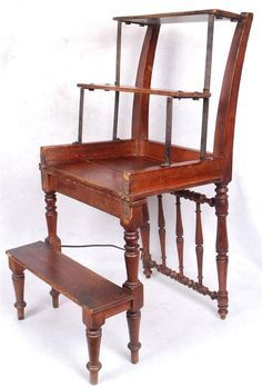 Antique Library Chair Converts To Library Steps Turned Legs Book