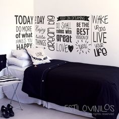 Copadísima phrase for adolescent room! Pedila for the length you need . Diy Room Decor For Teens, College Room Decor, Cute Bedroom Ideas, Teen Room Decor, Wall Painting Decor, Interior Design Sketches, Room Design Bedroom, Game Room Design, Princess Room