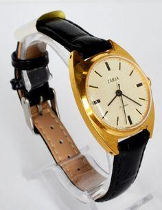 Vintage Women Watch Gold-plated 1970s USSR ZARJA #ZARJA #Gold #watch #forher #vintage #retro #casual
