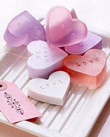 "Heart Soaps...make your own heart shaped ""candy"" soaps for gift giving for Valentine's Day...instructions from Martha Stewart.  There are 13 ideas for gift giving that are also included."