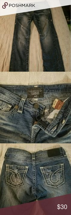 "Big Star Women's jeans inseam is 30"" these have the factory distressed look they are the liv style. Big Star Jeans"