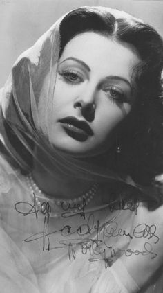 Hedy Lamarr- second woman ever to be nude on film, and co-inventor of an early technique for spread spectrum communications and frequency hopping (now used for today's wireless communication) Golden Age Of Hollywood, Classic Hollywood, Old Hollywood, Hollywood Actresses, Hedy Lamarr, Classic Actresses, Rita Hayworth, Most Beautiful Women, Movie Stars