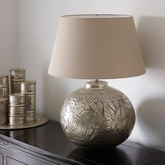 Kudu Handcrafted Eastern Inspired Silver Leaf Design Table Lamp