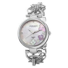 Akribos XXIV Women's Diamond Flower Dial Twist Chain Bracelet Watch (Tri-colored), Gold Size: One Size Fits All Jewelry Clasps, Metal Bracelets, Link Bracelets, Jewelry Watches, Jewlery, Diamond Flower, Pearl Flower, Gold Flowers, Diamond Jewelry