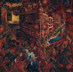 Tableaux sur toile, reproduction de Grosz, The City, 100x102cm