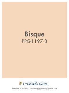 Bisque paint color from PPG Pittsburgh Paints is in the orange paint color family. Oranges imply good cheer, joy and are welcoming. It is an active color & promotes energy & enthusiasm.