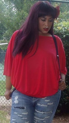 Red Plus Size Batwing Style Blouse, Size 26/28 by Lane Bryant #LaneBryant…