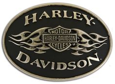 Harley-Davidson® Mens Black Flame Belt Buckle. MB10070