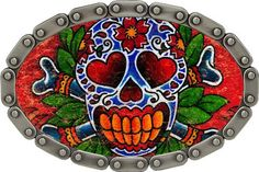 Tattoo Johnny Day Of The Dead DOD Dark Skull Tattoo Belt Buckle