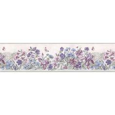 Lavender Picket Fence Wallpaper Border