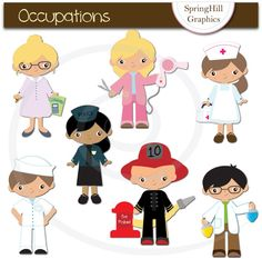 Instant Download Occupations Digital Clip Art for Card Making, Web Design, Scrapbooking - Personal and Commercial use