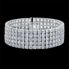 Takes our breath away! 5 row Asscher Cut Diamond wide Bracelet.
