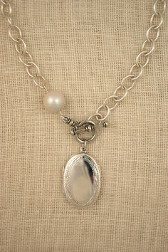 18″ Classic Necklace in Sterling Silver with Bess Locket w/3 letter monogram