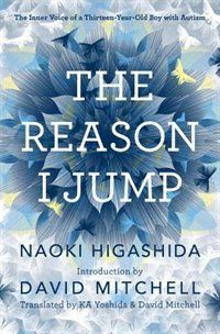 "Even though this is a book, with ""voice"" in the title, the type and image help with the message. The Reason I Jump: The Inner Voice Of A Thirteen-year-old Boy With Autism Book by Naoki Higashida 