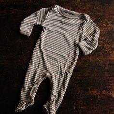 Organic Silk & Merino Wool Footed Pyjamas - Walnut Stripe - 0m-2y – MamaOwl