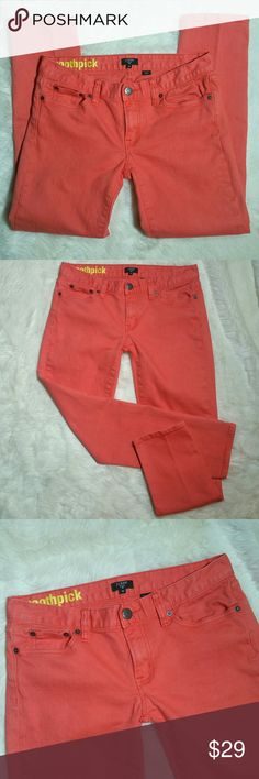 """J. Crew Toothpick Ankle Skinny Stretch Jeans Sz 28 J. Crew toothpick ankle skinny stretch jeans size 28. Tangerine orange/coral in color. Perfect factory fade. Button and zip fly. 5 pocket style. Super cute cuffed to welcome spring and carry into summer. 99% cotton and 1% spandex. Preowned in good condition with no rips, holes, tears or stains. Size 28.  Measurements  Waist 15.5"""" Rise 7.5"""" Inseam 27.5"""" (ankle) Leg opening 6"""" J. Crew Jeans Ankle & Cropped"""