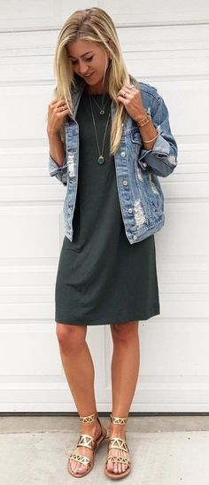 #fall #outfits blue jeans jacket