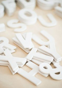 white clay letters
