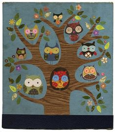 owls paper collage