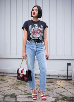 """Tiffany Hsu in einem """"Slayer""""-T-Shirt während der Fashion Week in Mailand"""