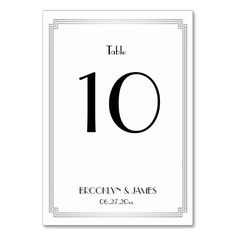 Great Gatsby Art Deco Silver Wedding Table Numbers Card