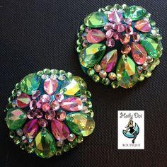 Green Pink Aurora  Rhinestone BURLESQUE couture pasties
