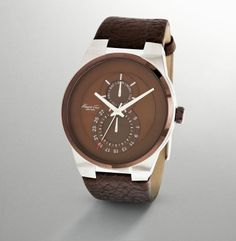 Men's Round Stainless Steel & Brown Watch by Kenneth Cole Watches at Gilt Why I love black men. Cool Watches, Watches For Men, Men's Watches, Fancy, Luxury Watches, Swagg, Rolex, Fashion Accessories, Stainless Steel