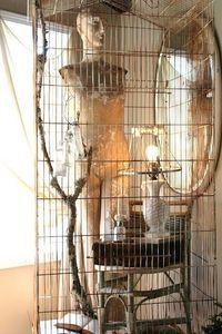 Hendryx Art Deco Brass Copper Hat Box Bird Cage w St... - Juxtapost