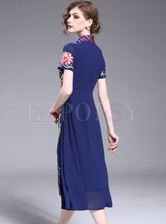 Shop for high quality Ethnic Floral Embroidery Asymmetric Patch Skater Dress online at cheap prices and discover fashion at Ezpopsy.com