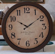 36 in large wall clock antique style framed tuscan porcelain $143.00