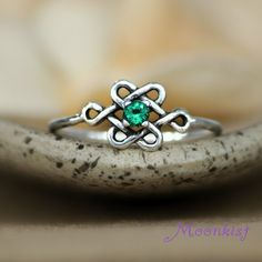 Silver Celtic Endless Knot Promise Engagement Ring - Irish May Birthstone