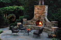 Oversized Outdoor Fireplace Outdoor Fireplace Coogan's Landscape Design Pineville, NC