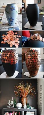 "Revive an old vase or lamp base for ""pennies"", literally. : )"