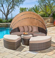 Round Daybed 6 Piece Brown Wicker Patio Furniture