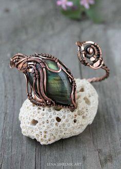 Labradorite bracelet Wirewrap braceket Сopper by LenaSinelnikArt