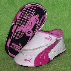 PUMA Drift Cat 4 Low Crib Shoe White/Black/Pink Baby Girls Size 3 EUC #PUMA #CribShoes