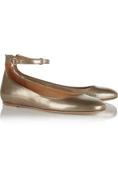 Isabel Marant   Étoile Lili metallic textured-leather ballet flats   NET-A-PORTER.COM