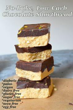 No bake, low carb, sugar free, vegan chocolate shortbread squares.Uses 1c alm flour and 1c coconut flour