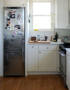 Best Appliances for Small Kitchens, Remodelista. Features narrow but still functional and attractive kitchen appliances to fit in a small space. kitchen fridge Best Appliances for Small Kitchens: Remodelista's 10 Easy Pieces Narrow Kitchen, Compact Kitchen, Old Kitchen, Kitchen Decor, Kitchen Ideas, Kitchen White, Kitchen Small, Small Kitchen Makeovers, Space Kitchen