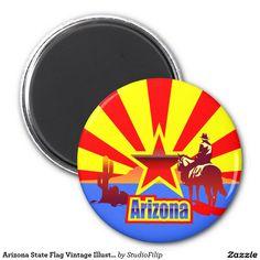 Arizona State Flag Vintage Illustration 2 Inch Round Magnet