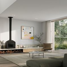 """Chamberlain Architects on Instagram: """"The living area from the Ruum Glow House.  Glow House draws light into the central core of this space with a dramatic translucent…"""" Living Room With Fireplace, Home Living Room, Living Area, Living Room Decor, Living Spaces, Wood Stove Wall, Modern Wood Burning Stoves, Freestanding Fireplace, Rustic Fireplaces"""