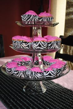 Hot Pink and zebra cupcakes