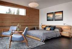 Bedroom: Modern Industrial Bedroom With Bright Plywood Platform Bed And Gray Concrete Floor Also Gray Shag Rug: Impressive Industrial Bedroom Decor Ideas