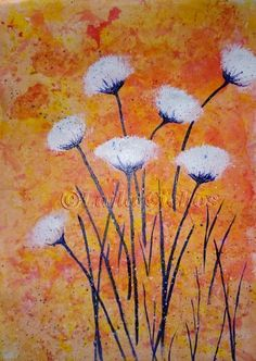 """""""Autumn flowers"""". Acrylic painting on paper by Laila Cichos. In a black frame."""