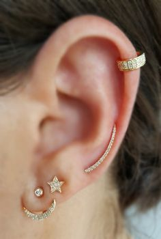 14K Solid Gold Ear Cuff Available in Yellow, Rose or White Gold .12 CT Diamonds 3mm wide Sold individually