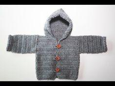 Como hacer trenca o rebeca de bebé a crochet. - YouTube